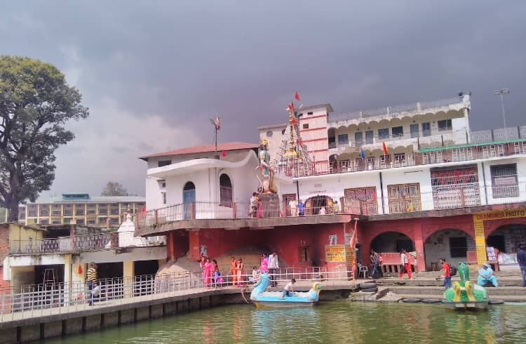 Front view of Chamunda Devi Temple